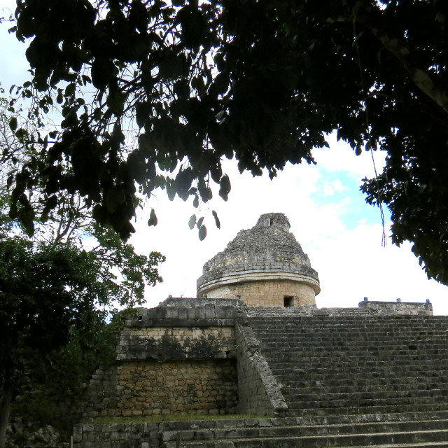 """""""The Mayan Observatory at Chichen Itza"""" stock image"""