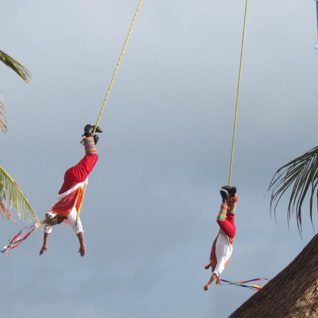 """""""Mayan pole dancers, Playa del Carmen"""" stock image"""