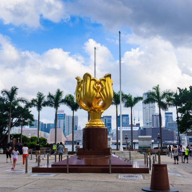 """""""Golden Bauhinia Square in Hong Kong downtown area at the morning time"""" stock image"""