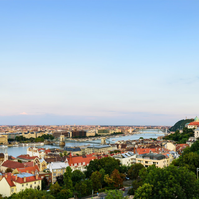 """""""Panoramic view of Budapest cityscape crossed by Danube river from the Buddha castle at sunset time"""" stock image"""