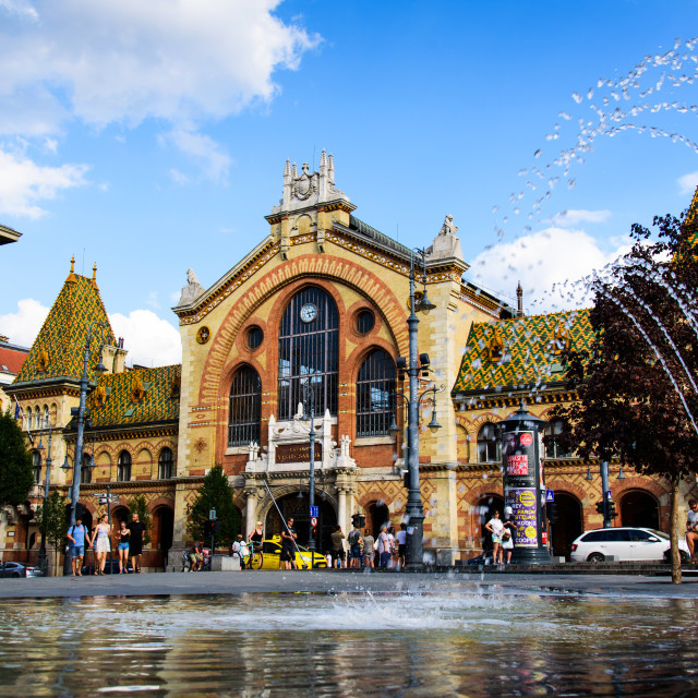 """""""The Great Market Hall in Budapest an old market place and a tourist attraction on a sunny day"""" stock image"""