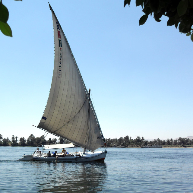 """""""Sail boat on the River Nile"""" stock image"""