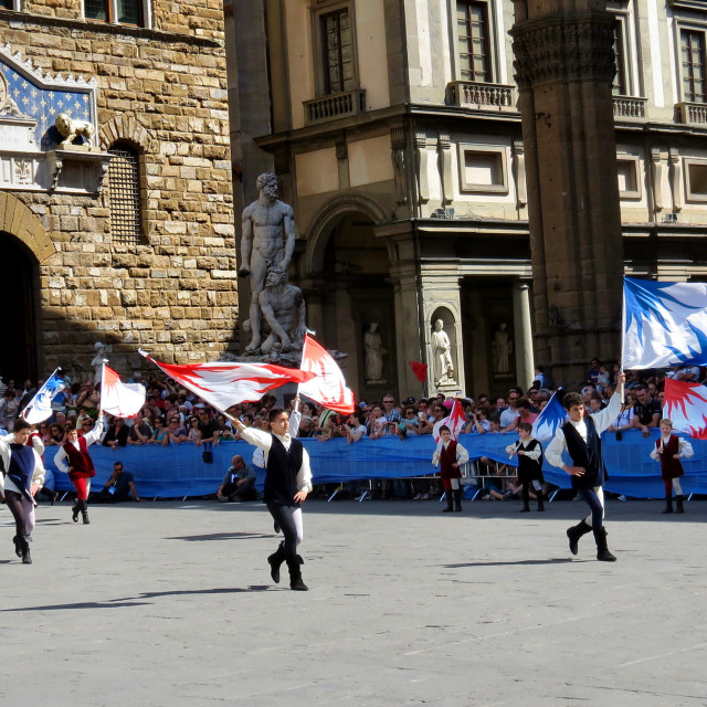 """""""Flag throwing contest Florence"""" stock image"""