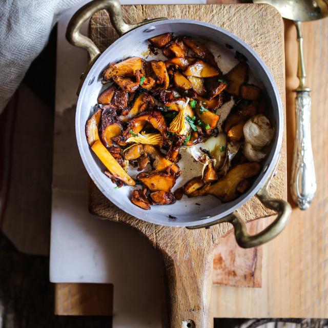 """Earl grey and saffron garlicky Chanterelle casserole"" stock image"