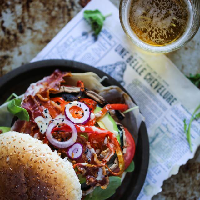 """""""Portobello mushroom burger"""" stock image"""