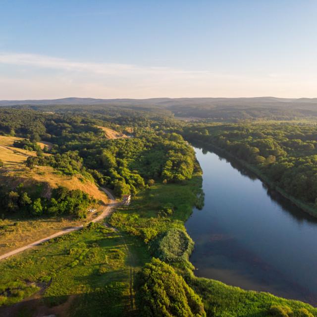 """Sunny day at Veleka river estuary,Black sea, Sinemorets village."" stock image"