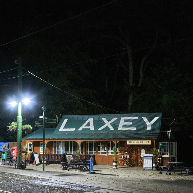 """""""Laxey station at night"""" stock image"""