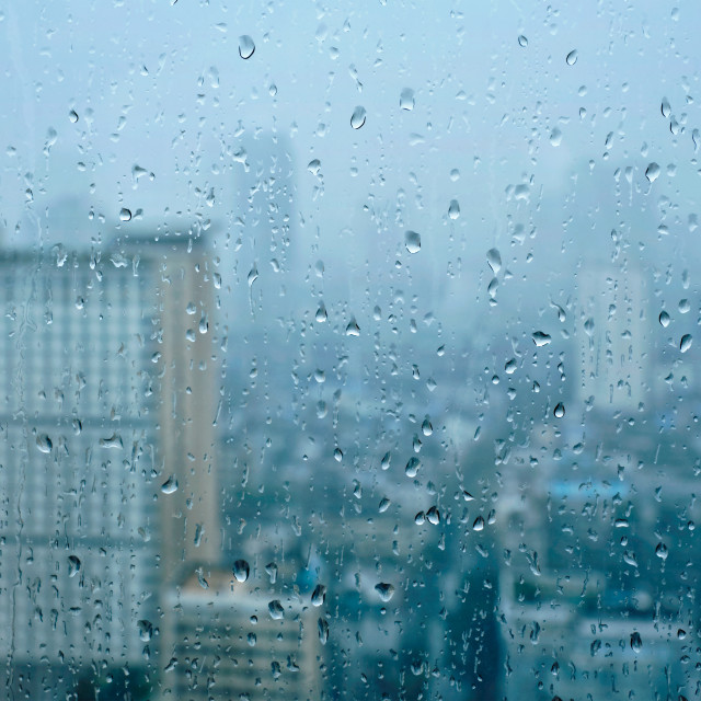 """Rain drops on window"" stock image"
