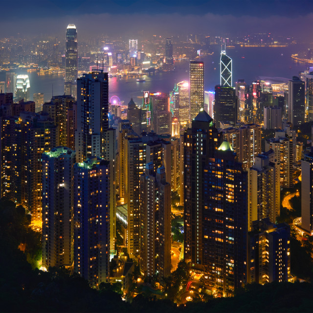 """""""Hong Kong skyscrapers skyline cityscape view"""" stock image"""