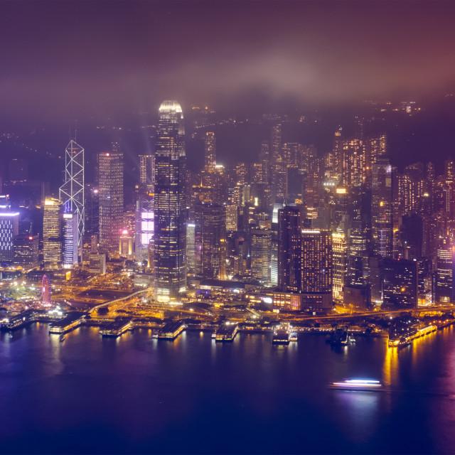 """""""Aerial view of illuminated Hong Kong skyline. Hong Kong, China"""" stock image"""