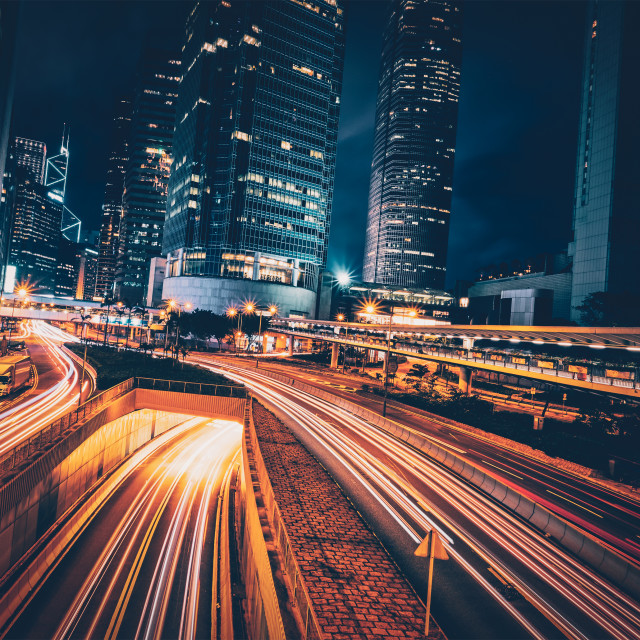 """Street traffic in Hong Kong at night"" stock image"