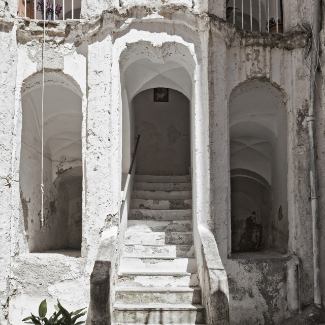 """""""Italy, Procida island - Inside Courtyard of an Old House."""" stock image"""