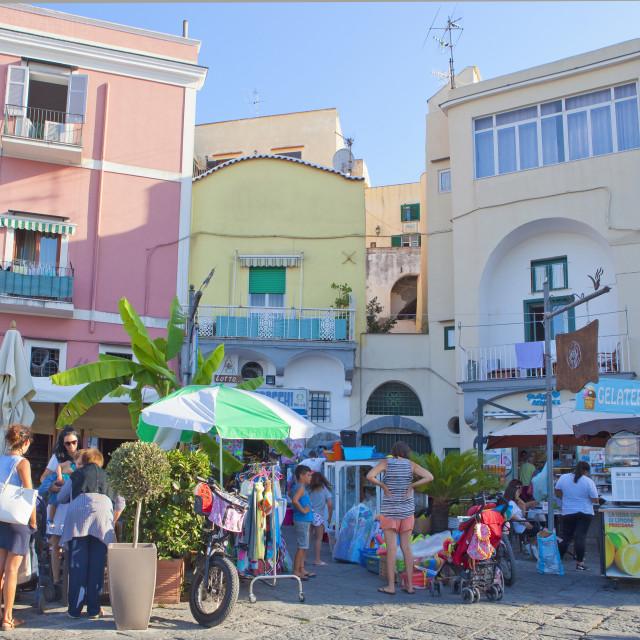 """People at Via Vittorio Emanuele, Procida Island, Italy"" stock image"