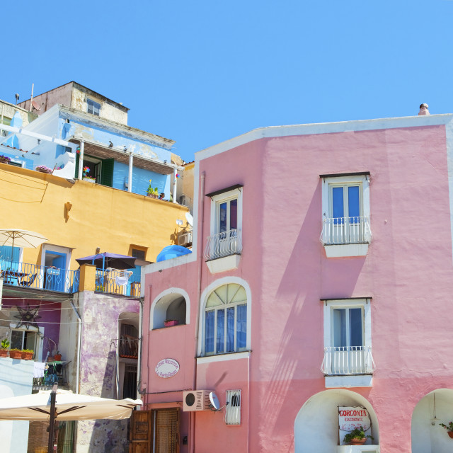 """Italy, Procida island - Houses at Village Corricella."" stock image"