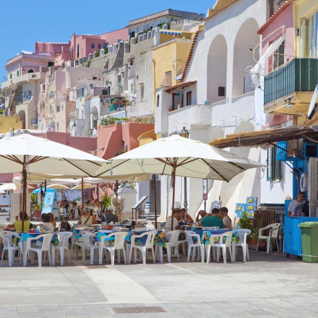 """Italy, Procida island - Restaurants at Village Corricella."" stock image"