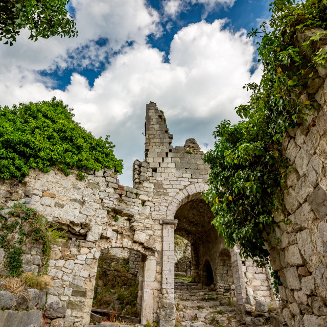 """""""Ruins of ancient fortress, town of Bar, Montenegro"""" stock image"""
