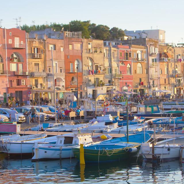 """""""Houses at Marina Grande, Procida Island, Campania, Italy"""" stock image"""