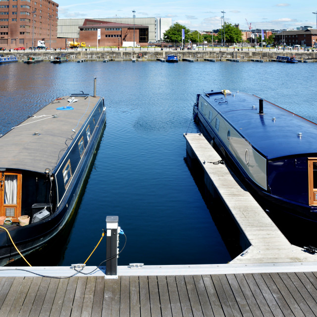 """Canal boats in Salthouse Dock, Liverpool."" stock image"