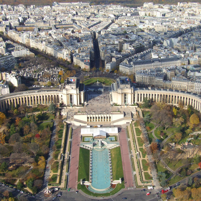 """""""Le Trocadero viewed from the Eiffel Tower, Paris"""" stock image"""