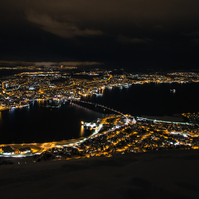 """Tromso by night."" stock image"