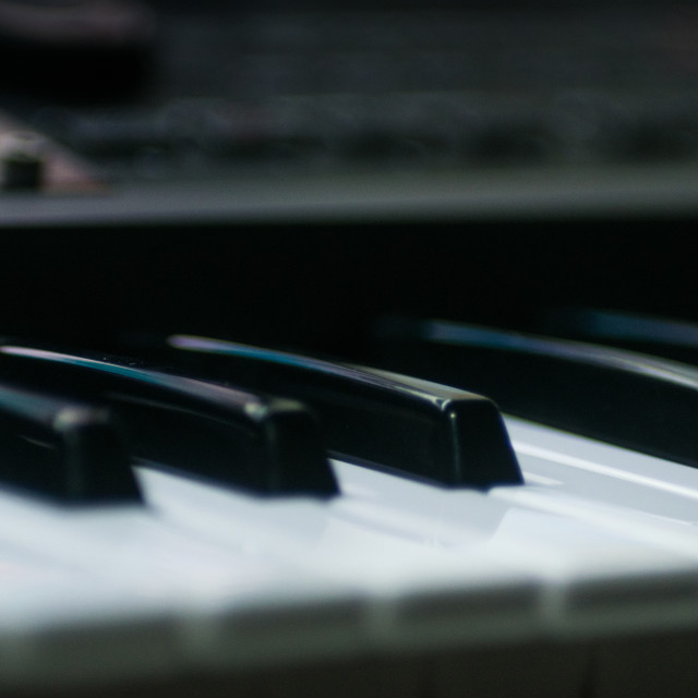 """Closeup of keyboard synthesizer instrument"" stock image"