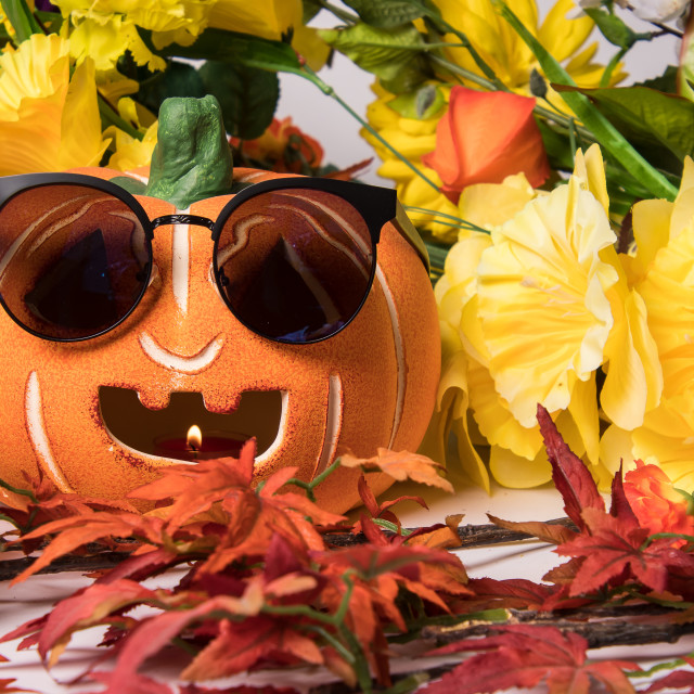 """Halloween pumpkin with sunglasses"" stock image"