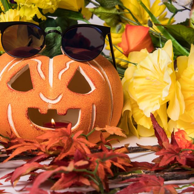 """Halloween pumpkin with sunglasses"" stock image"