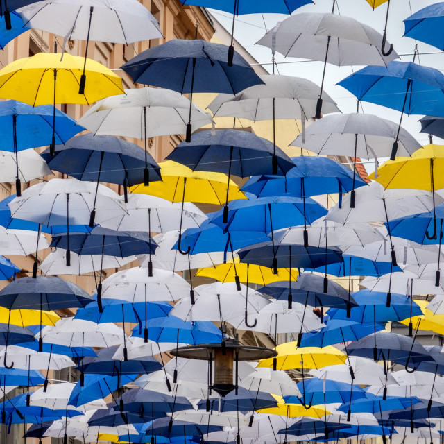 """""""Umbrellas hanging in the city center of Brno in Czech Republic"""" stock image"""