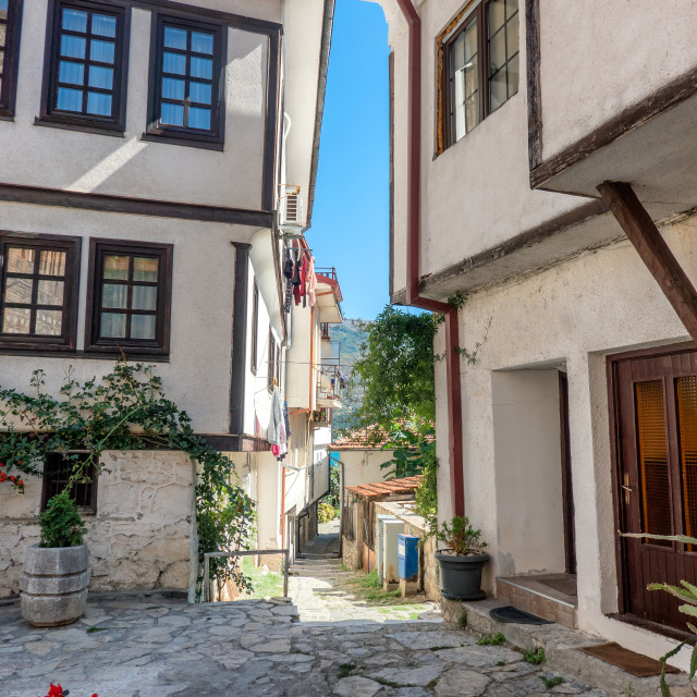 """""""Traditional homes small streets in Ohrid in Macedonia"""" stock image"""