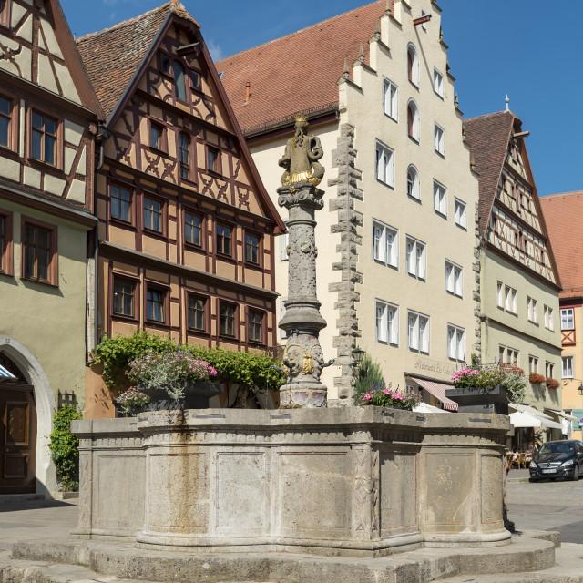 """Herrnbrunnen Fountain, Rothenburg"" stock image"