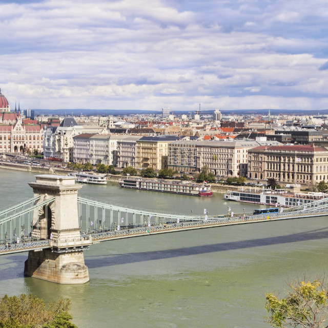 """Panoramic view of Budapest with Parliament and Chain Bridge"" stock image"