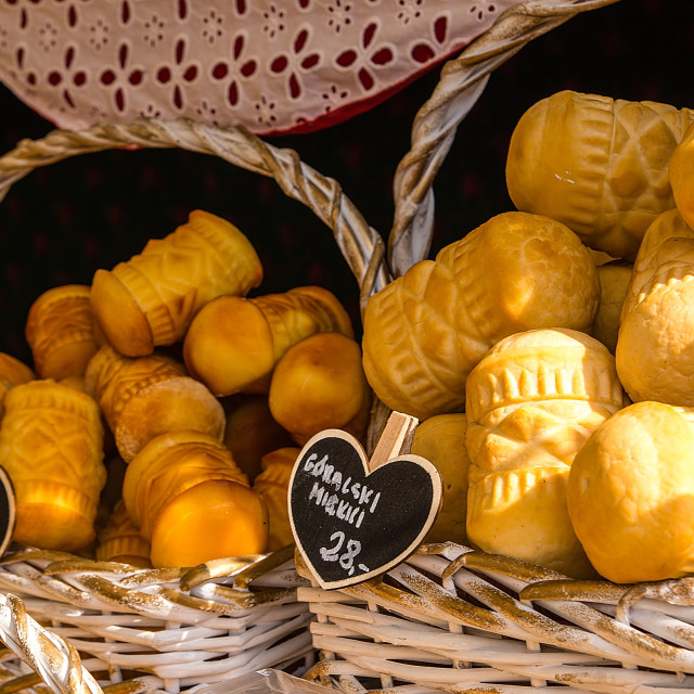 """""""Oscypek - traditional smoked cheese made of salted sheep milk"""" stock image"""
