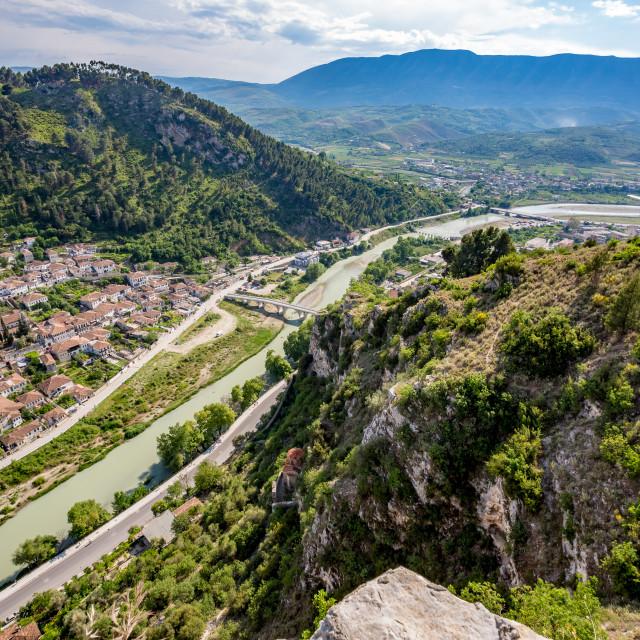 """Historic town, Berat, Albania, high view landscape"" stock image"