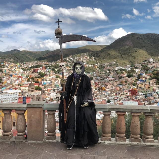 """""""Grim Reaper over Guanajuato"""" stock image"""