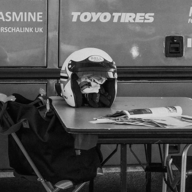 """""""Helmet on table"""" stock image"""