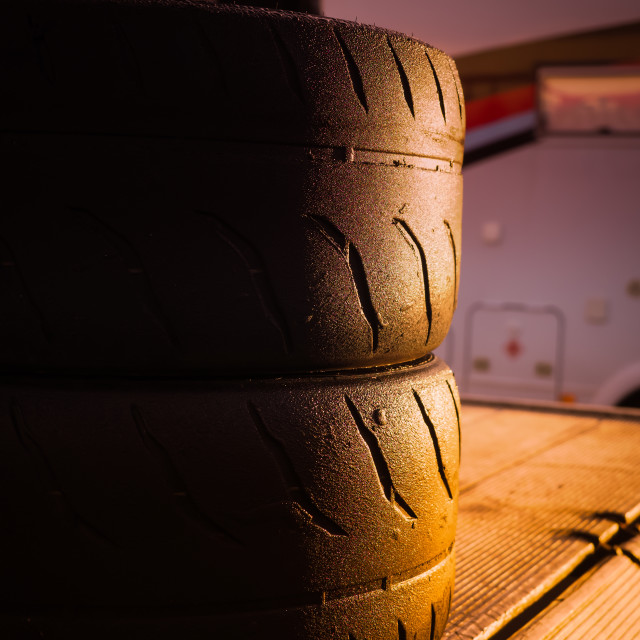 """Racing tyres sunrise"" stock image"