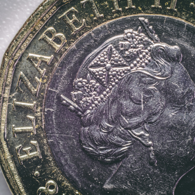 """UK £1 coin close up"" stock image"