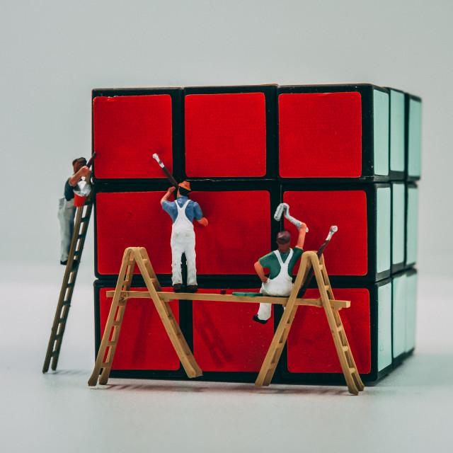 """""""Rubixs cube painting"""" stock image"""
