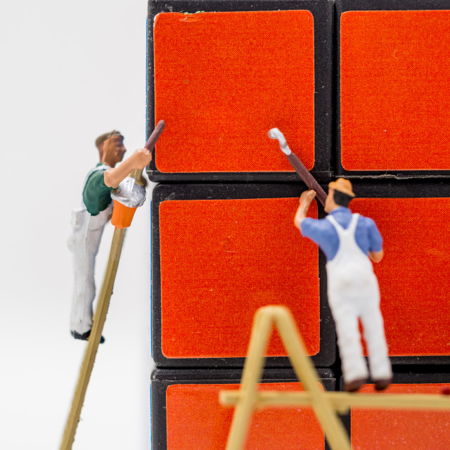 """Painting the cube"" stock image"