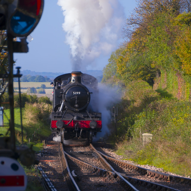 """""""GWR Class 5101 No 5199 arrives at Ropley on the Mid Hants Railway"""" stock image"""