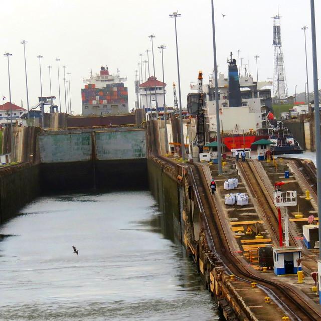 """Locks on the Panama canal"" stock image"