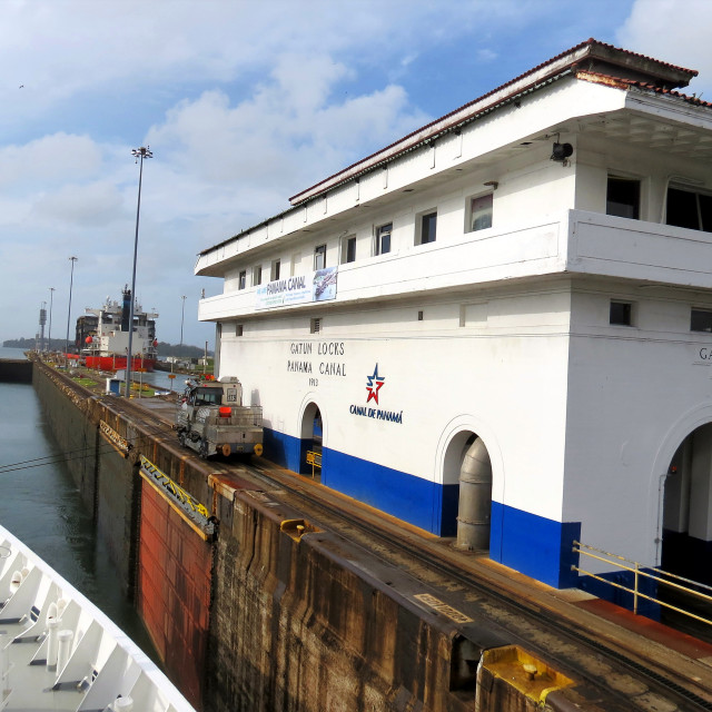 """Entering Gatun locks on the Panama canal"" stock image"