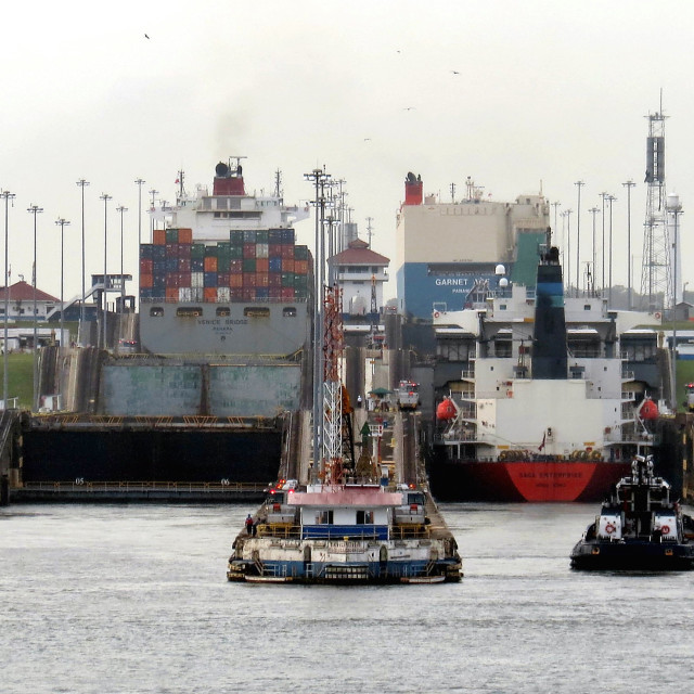 """Ship rising above sea level on Panama canal"" stock image"