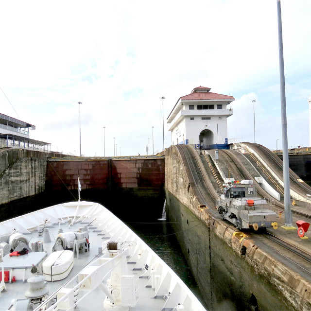 """""""Mule towing ship on Panama canal"""" stock image"""