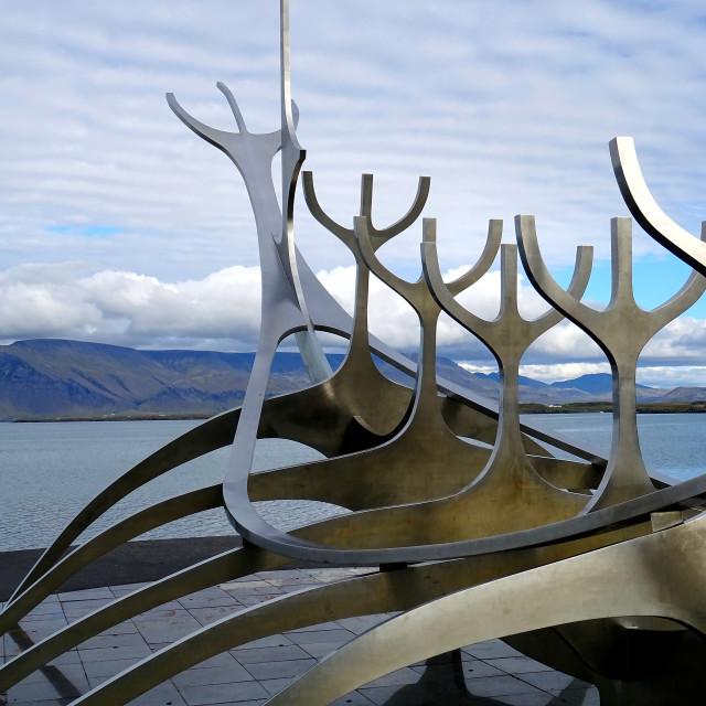 """Sun Voyager sculpture in Reykjavik"" stock image"