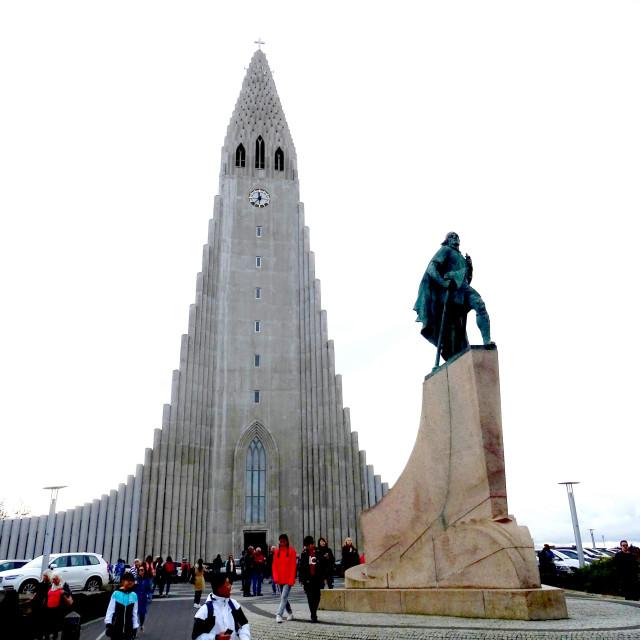 """Hallgrimskirkja church in Reykjavik"" stock image"