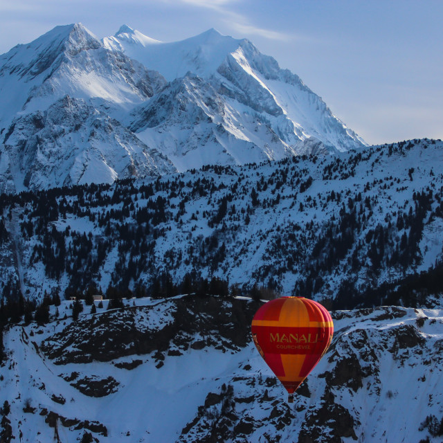 """Hot Air Balloon in the Alps 2"" stock image"