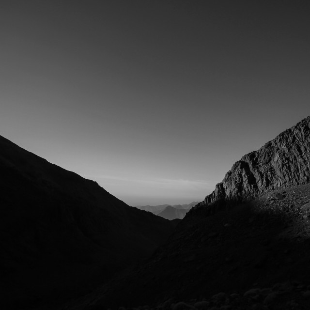 """Decent on Mount Toubkal B&W"" stock image"