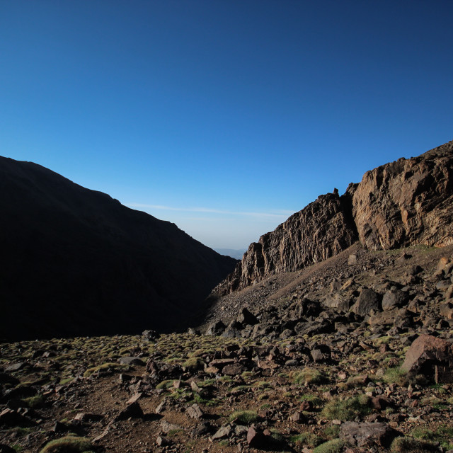 """Decent on Mount Toubkal"" stock image"
