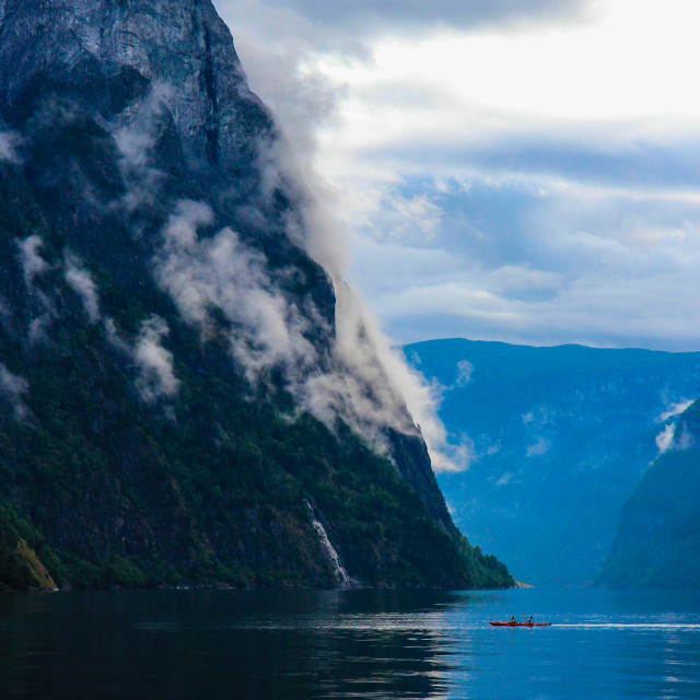 """Misty Mountain & Kayakers"" stock image"